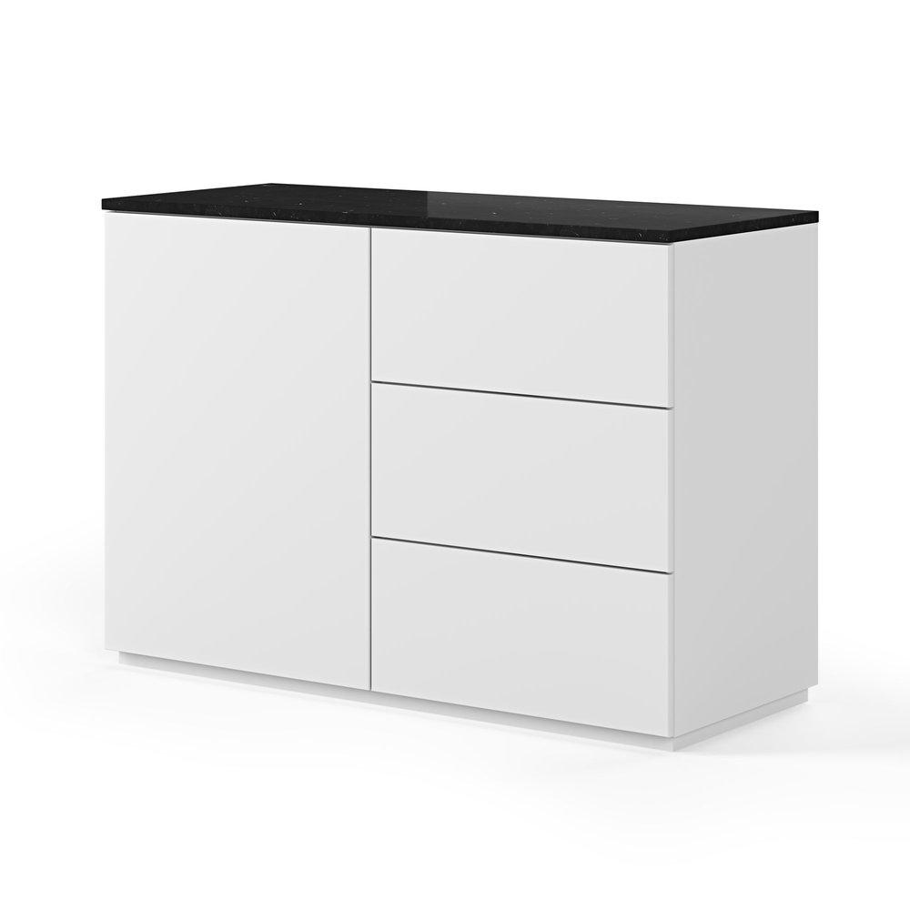 Buffet - vaisselier - Buffet 1 porte et 3 tiroirs blanc plateau marbre noir photo 1