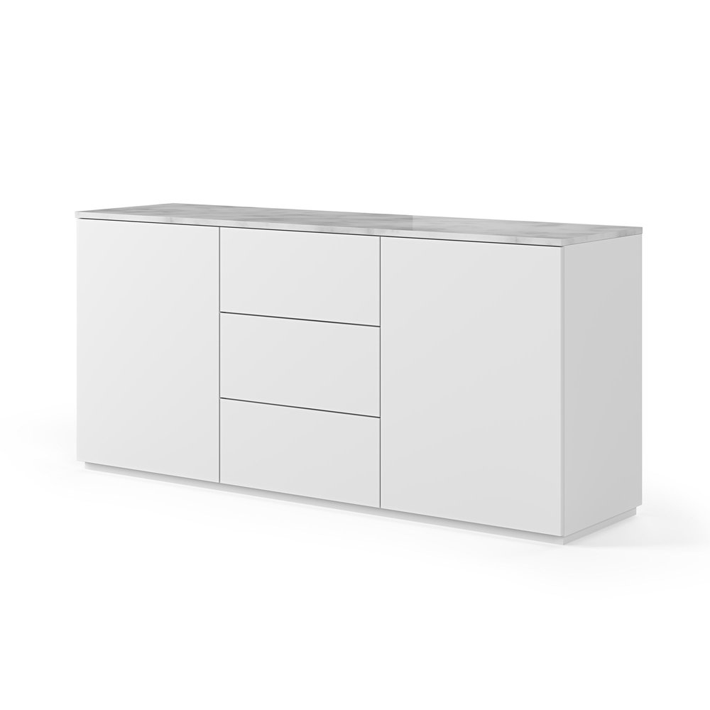 Buffet - vaisselier - Buffet 2 portes et 3 tiroirs blanc plateau marbre blanc photo 1