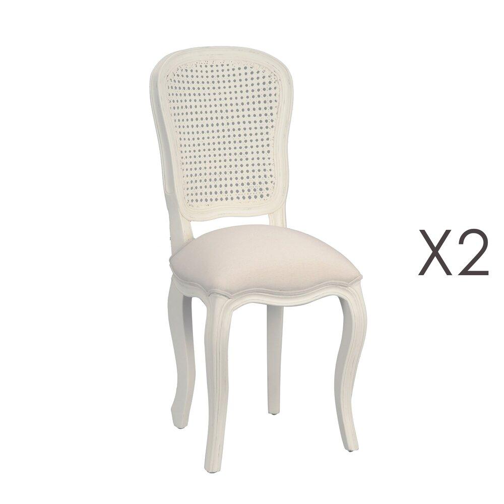 Chaise - Lot de 2 chaises 40x50x96 cm en bois blanc et assise écru - CHARMY photo 1