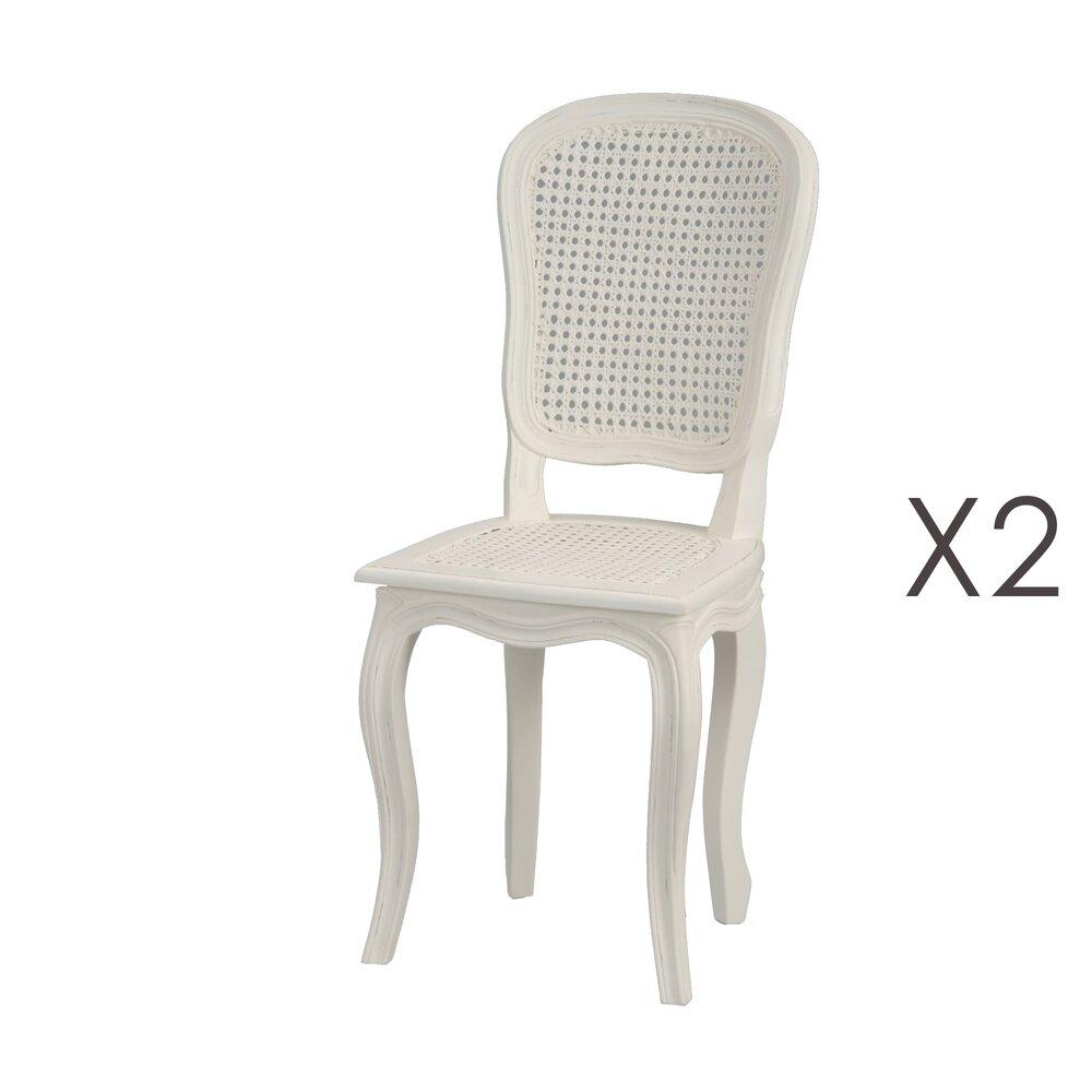 Chaise - Lot de 2 chaises dossier et assie cannée en bois blanc - CHARMY photo 1