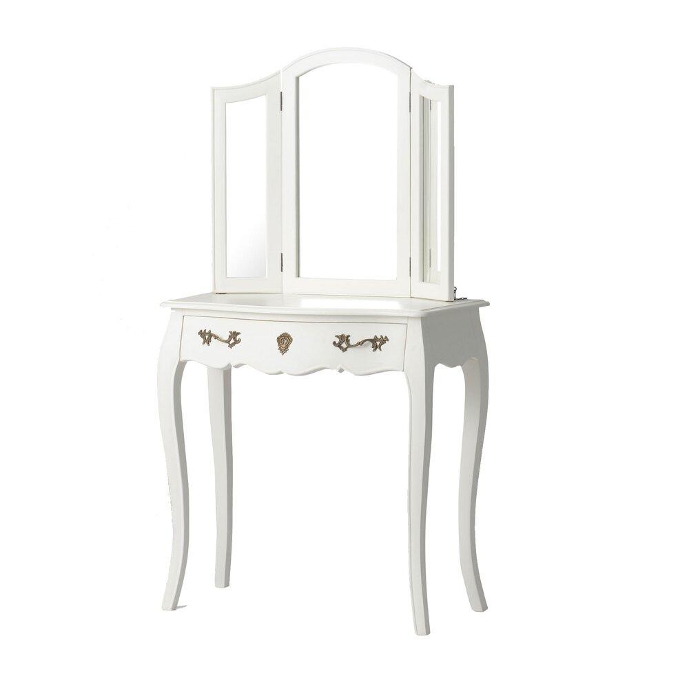 Commode - Coiffeuse - Coiffeuse 80 cm avec miroir en bois blanc - CHARMY photo 1