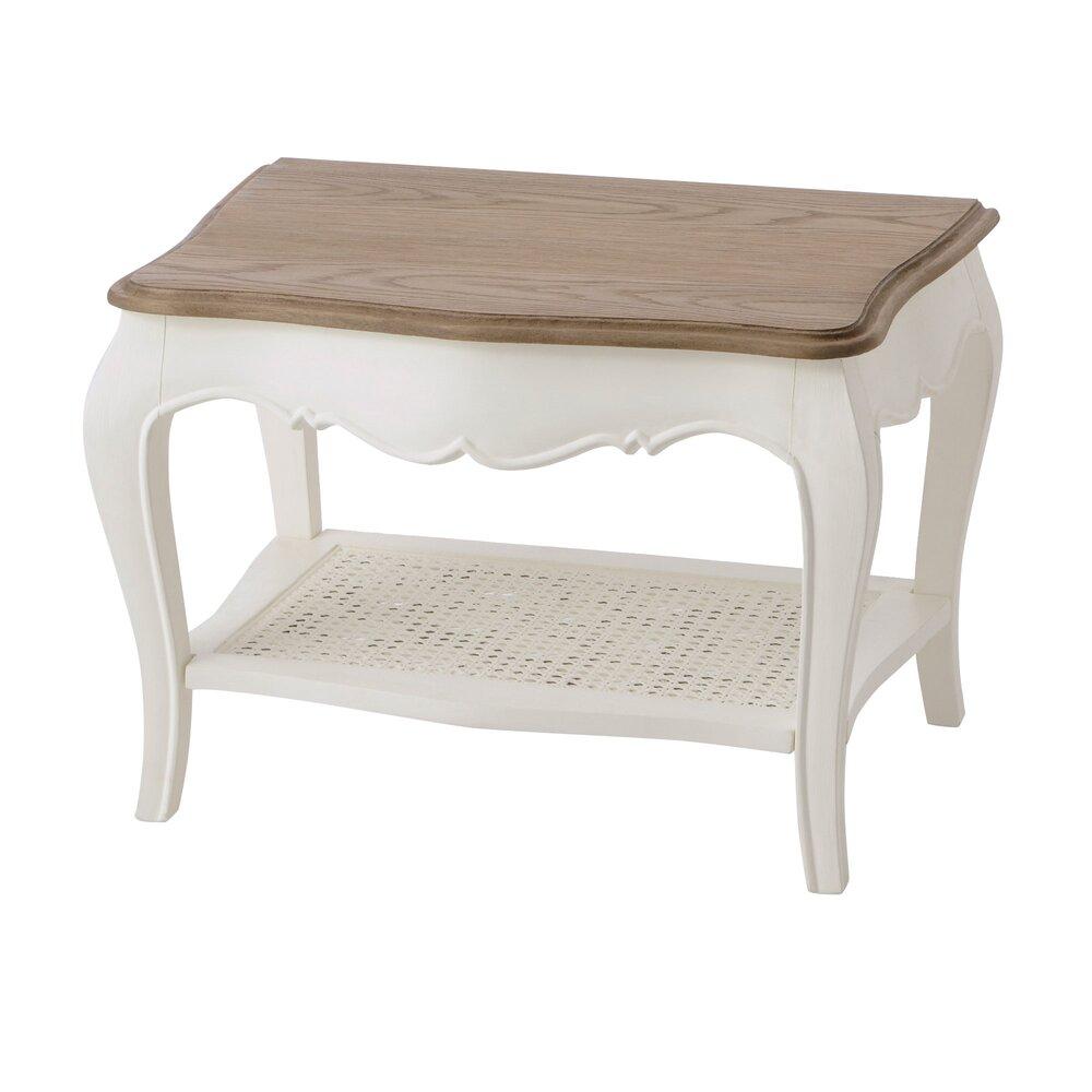 Table basse - Table basse 65 cm en bois naturel et blanc - CHARMY BLANC photo 1