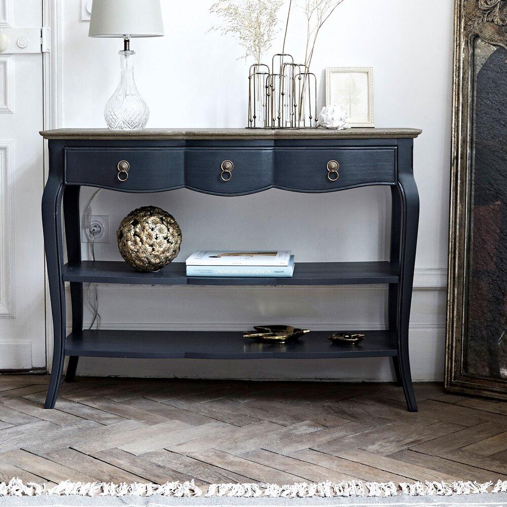 Console - Console 1 tiroir 110 cm en bois naturel et noir - SAMARA photo 1