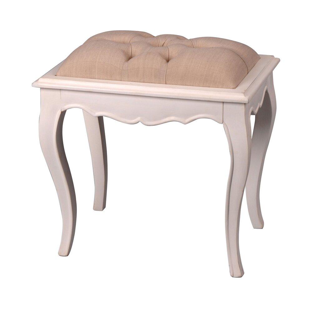 Tabouret - Tabouret avec coussin d'assise en bois blanc photo 1