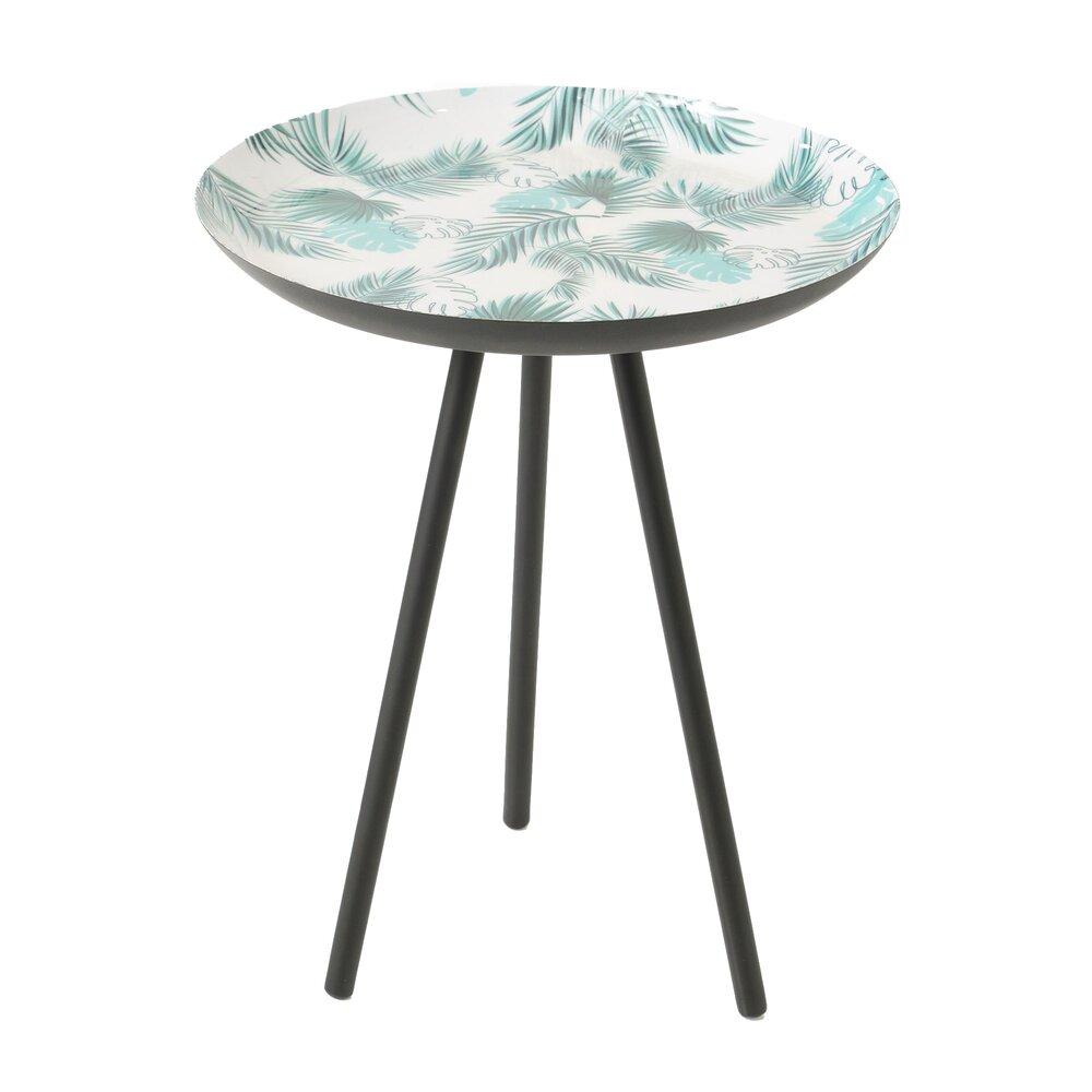 Bout de canapé - Bout de canapé rond 40 cm en métal bleu et blanc décor feuilles photo 1