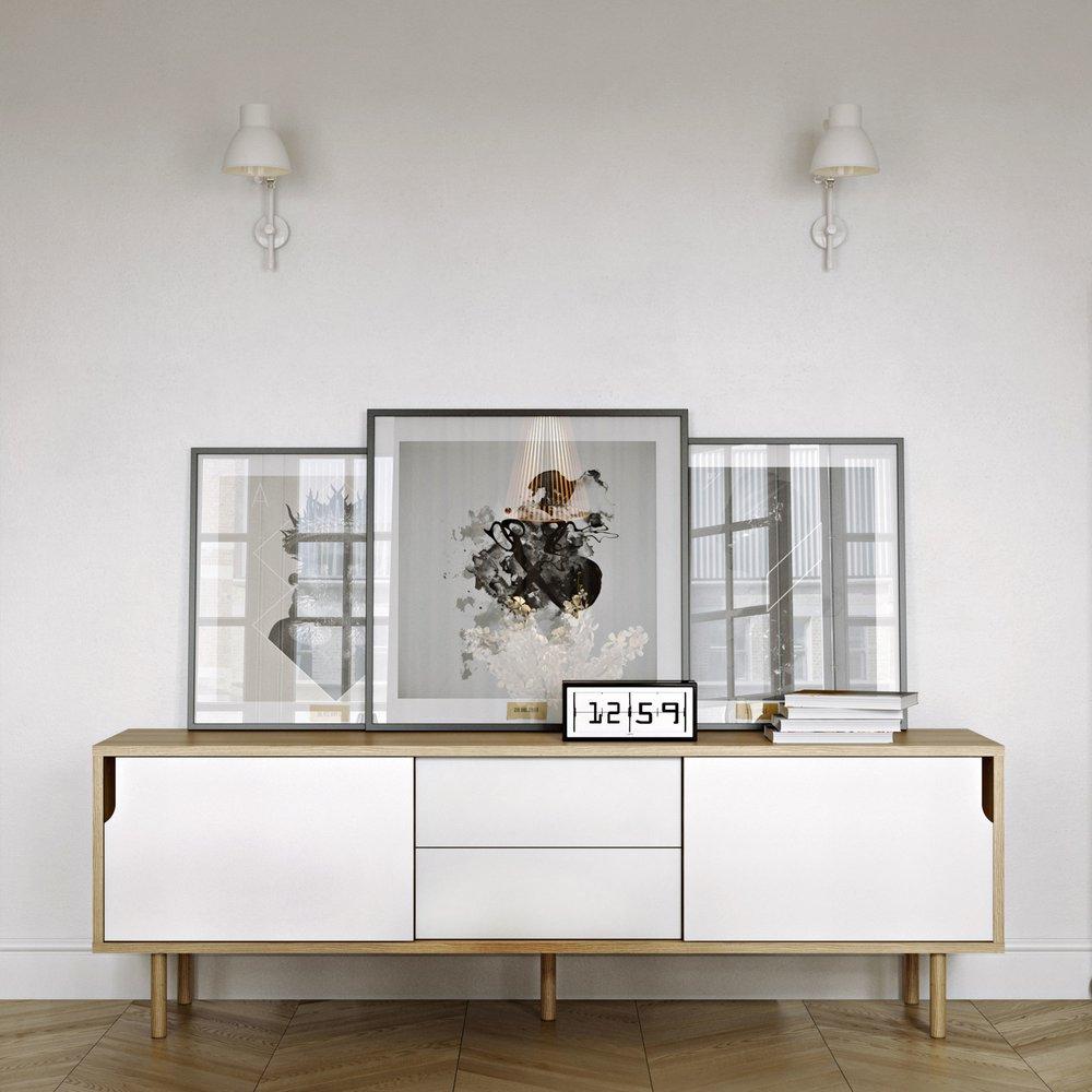 Buffet - vaisselier - Buffet 2 portes 2 tiroirs chêne blanc et pieds bois - JELLY photo 1