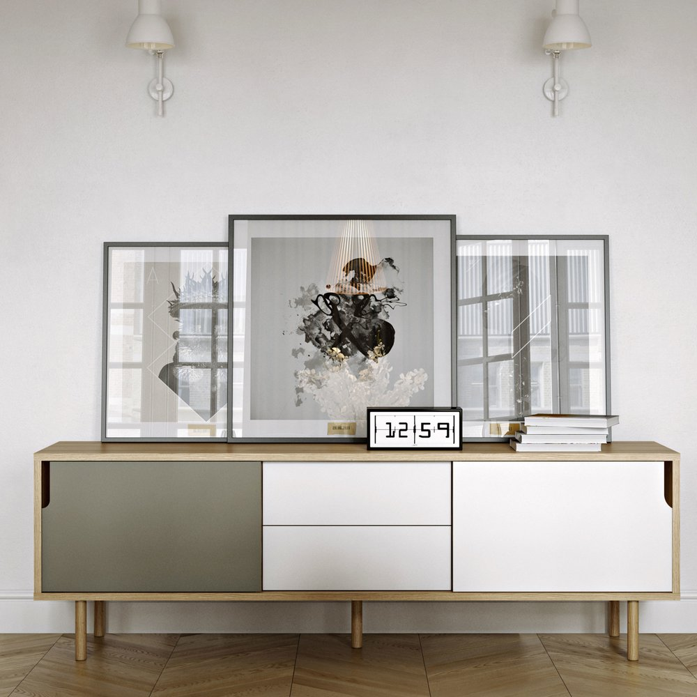Buffet - vaisselier - Buffet 2 portes 2 tiroirs chêne blanc gris et pieds bois - JELLY photo 1