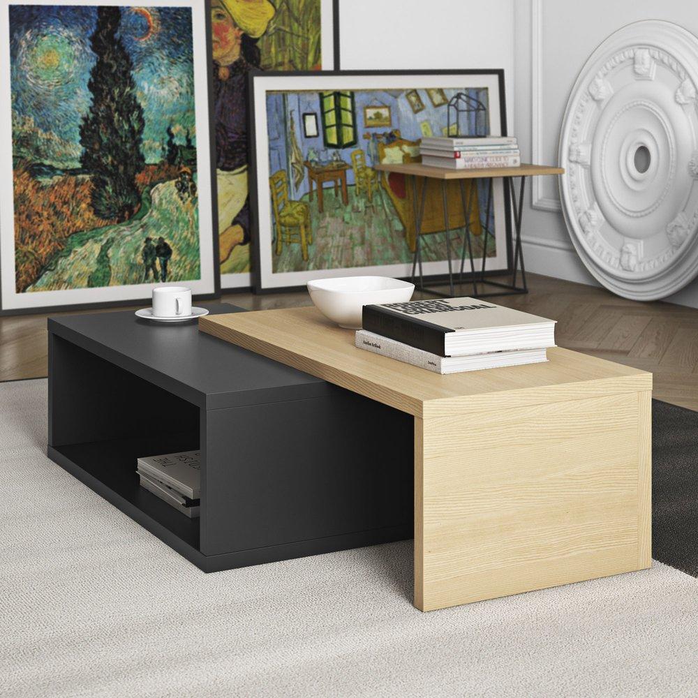 cm vernis 90 basse JAZZY chêne et mat noir Table décor 0OX8wPNnkZ
