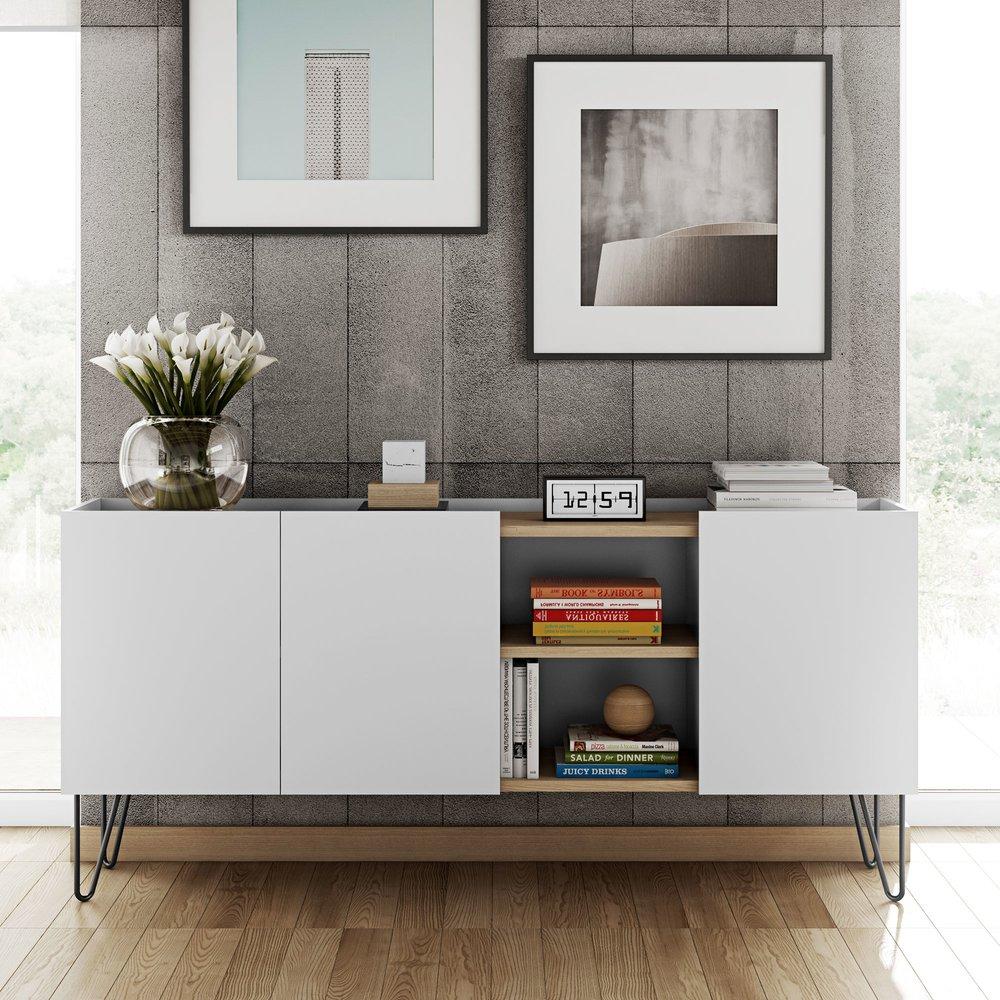 Meuble TV - Hifi - Meuble TV 180 cm 1 porte décor chêne vernis et blanc mat - JUGEND photo 1