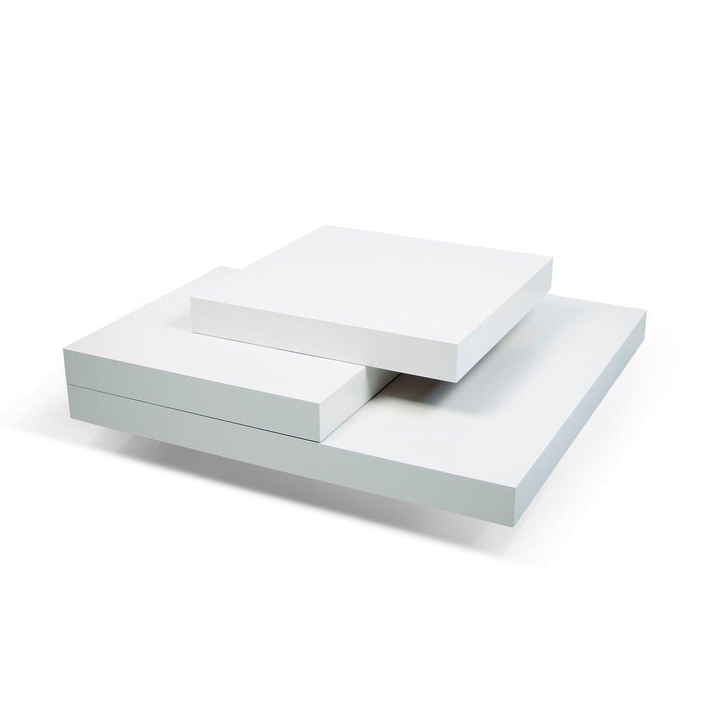 Table basse - Table basse avec 4 plateaux 90x90 cm en bois blanc photo 1