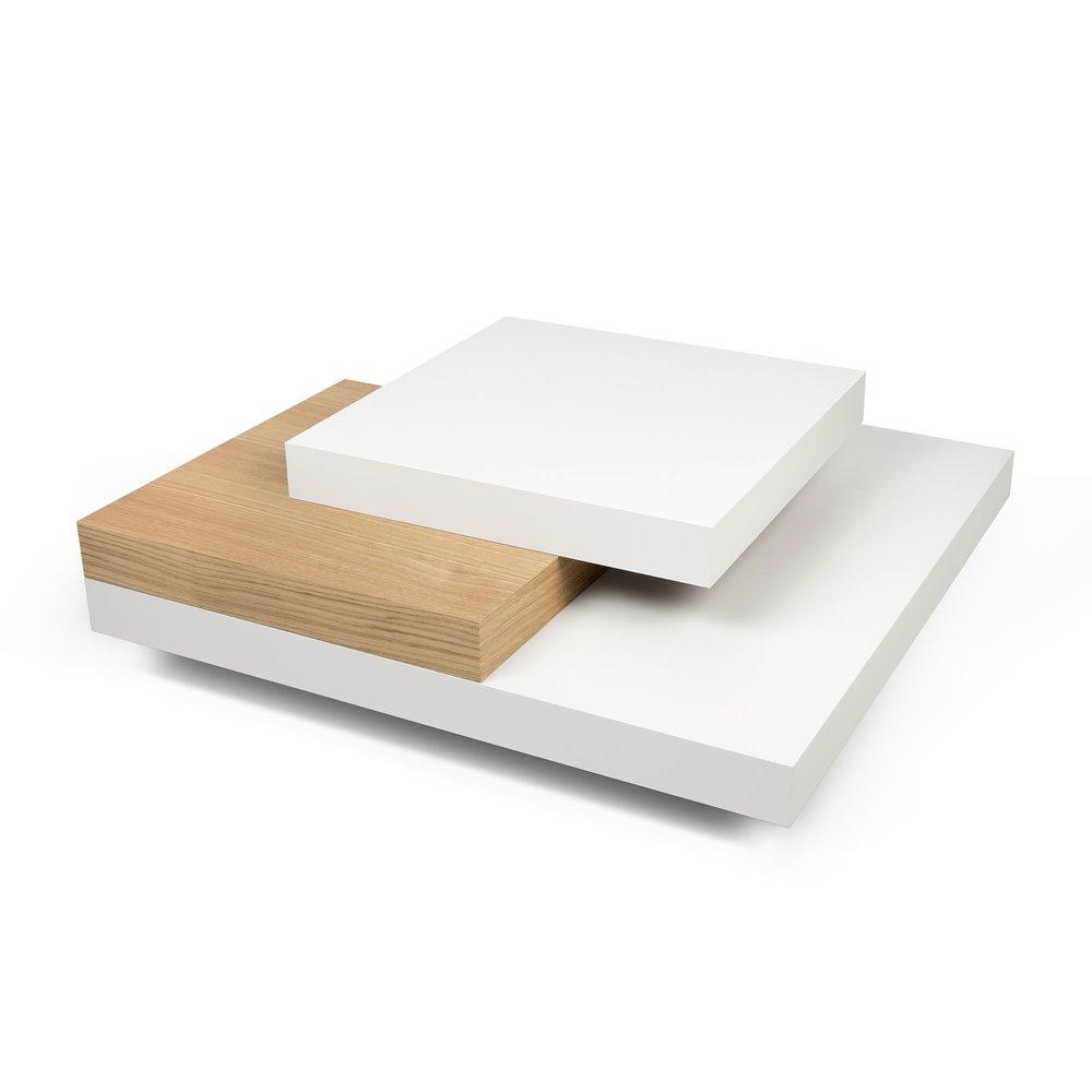 Table basse - Table basse avec 4 plateaux 90x90 cm en bois blanc et naturel photo 1