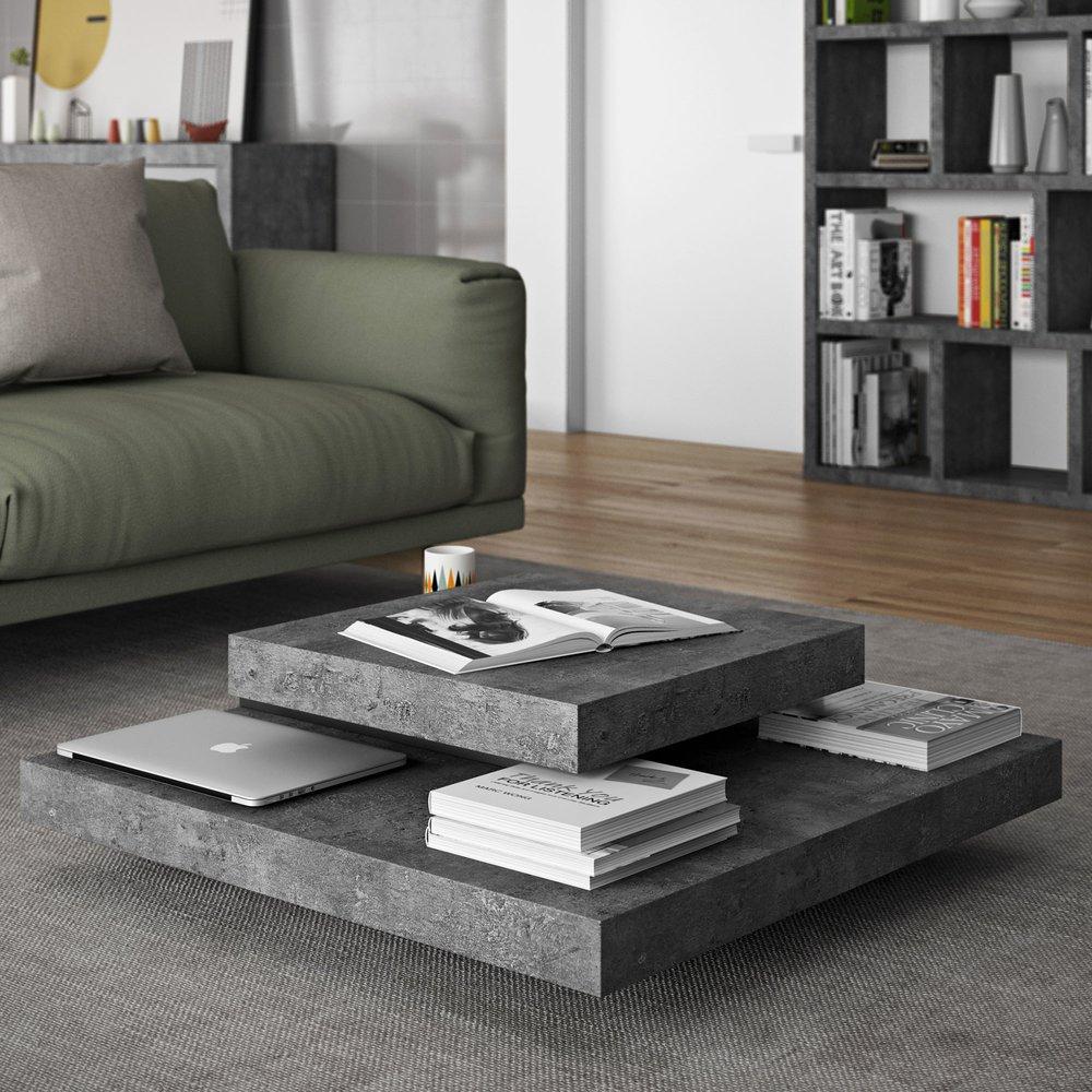 Table basse - Table basse avec 4 plateaux 90x90 cm en bois effet béton et noir photo 1