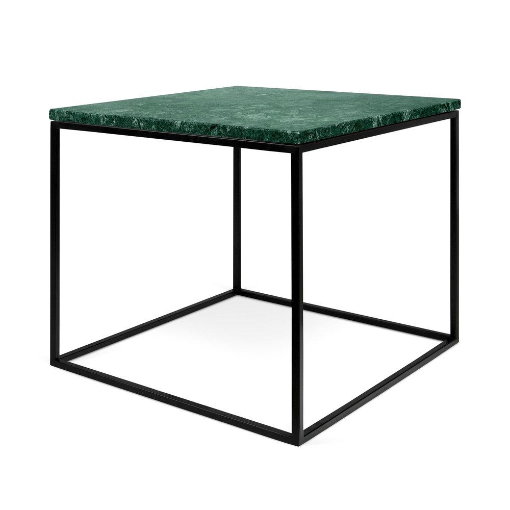 Table basse - Table d'appoint plateau en marbre vert et piètement noir - LYDIA photo 1
