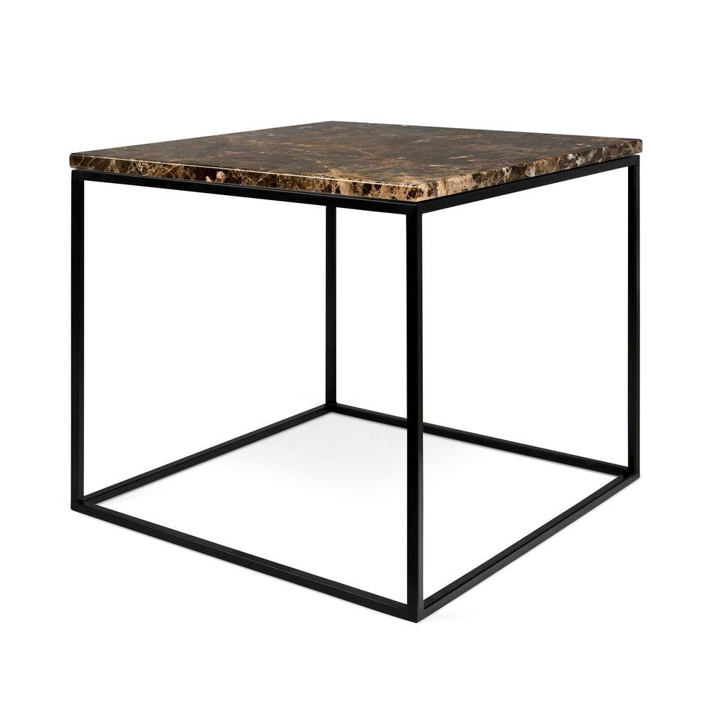 Table basse - Table d'appoint plateau en marbre marron et piètement noir - LYDIA photo 1