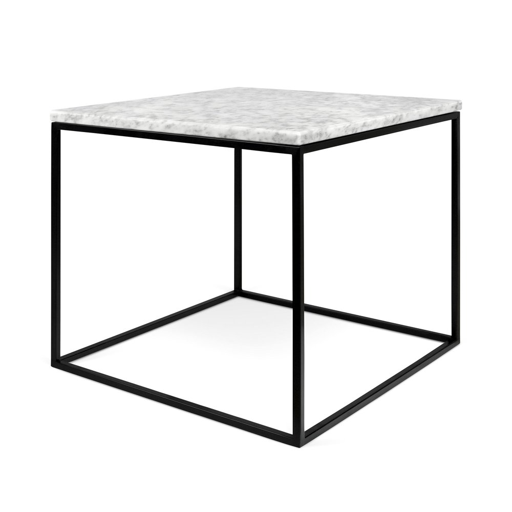 Table basse - Table d'appoint plateau en marbre blanc et piètement noir - LYDIA photo 1