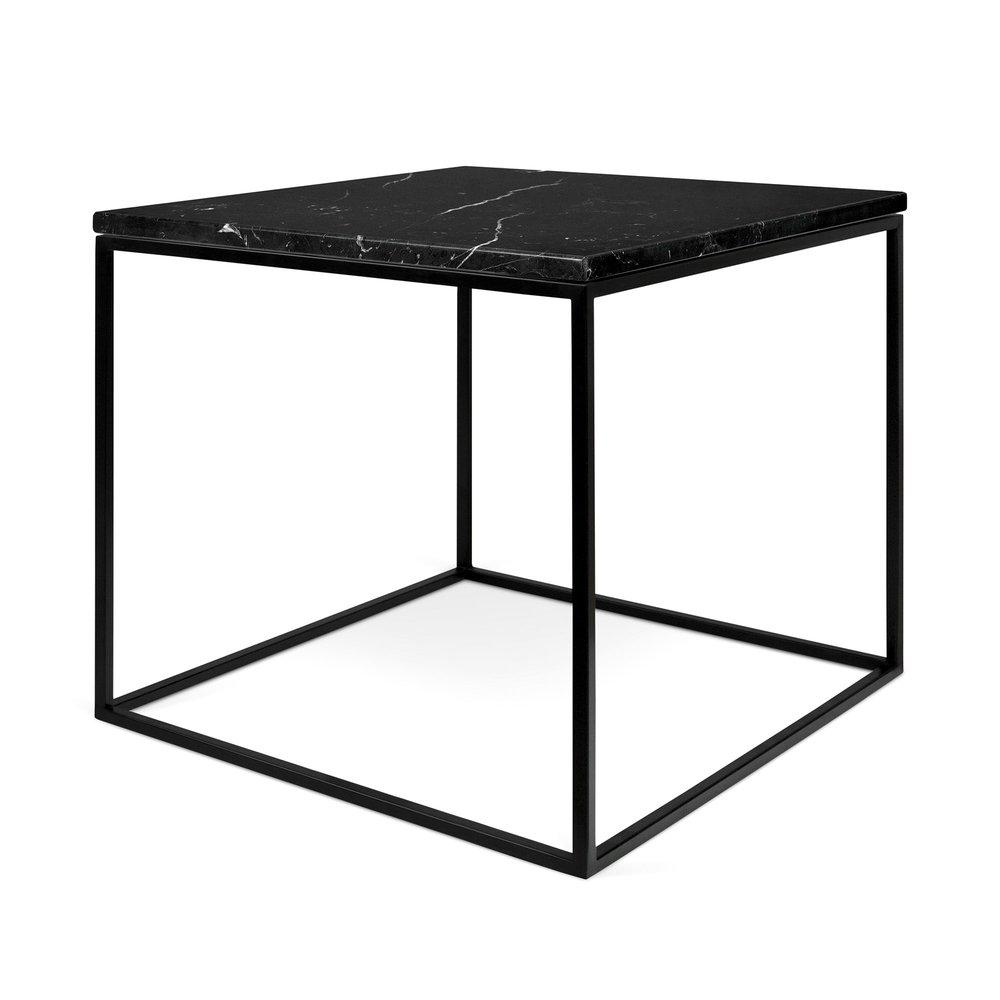 Table basse - Table d'appoint plateau en marbre noir et piètement noir - LYDIA photo 1