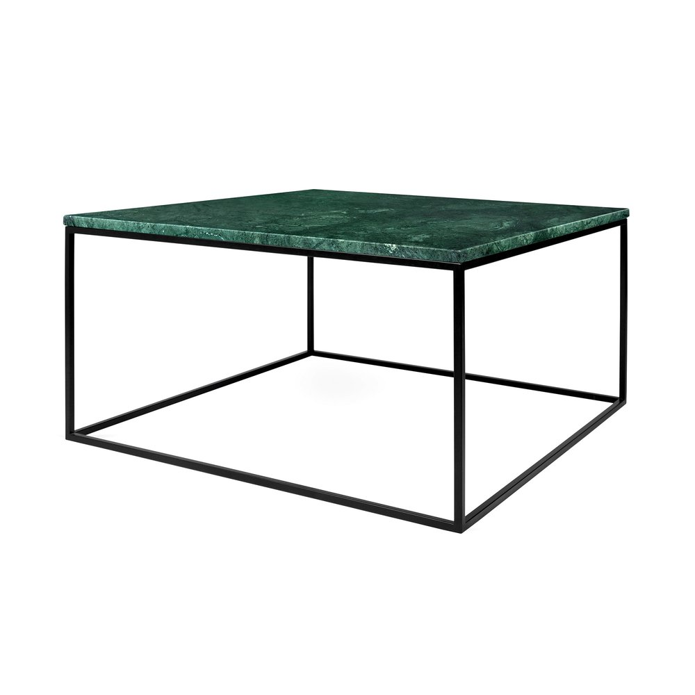 Table basse - Table basse 75 cm plateau en marbre vert piètement noir - LYDIA photo 1