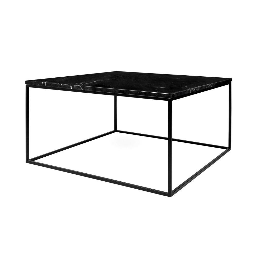 Table basse - Table basse 75 cm plateau en marbre noir piètement noir - LYDIA photo 1