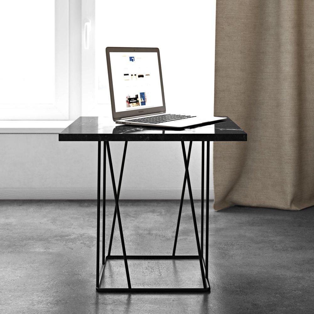 Table basse - Table d'appoint plateau en marbre noir piètement noir - TONKY photo 1