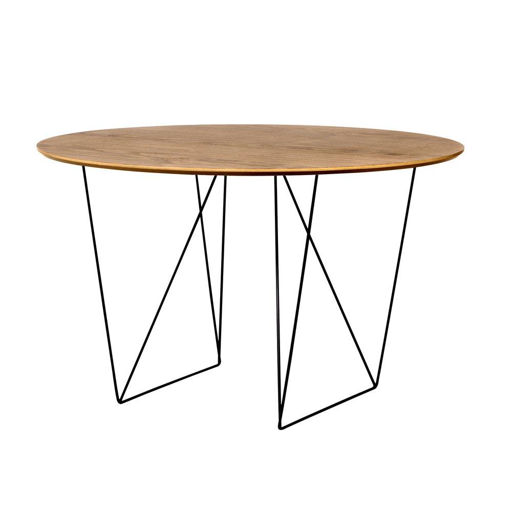 Table - Table à manger ronde 120 cm plateau noyer et piètement noir - WILNA photo 1