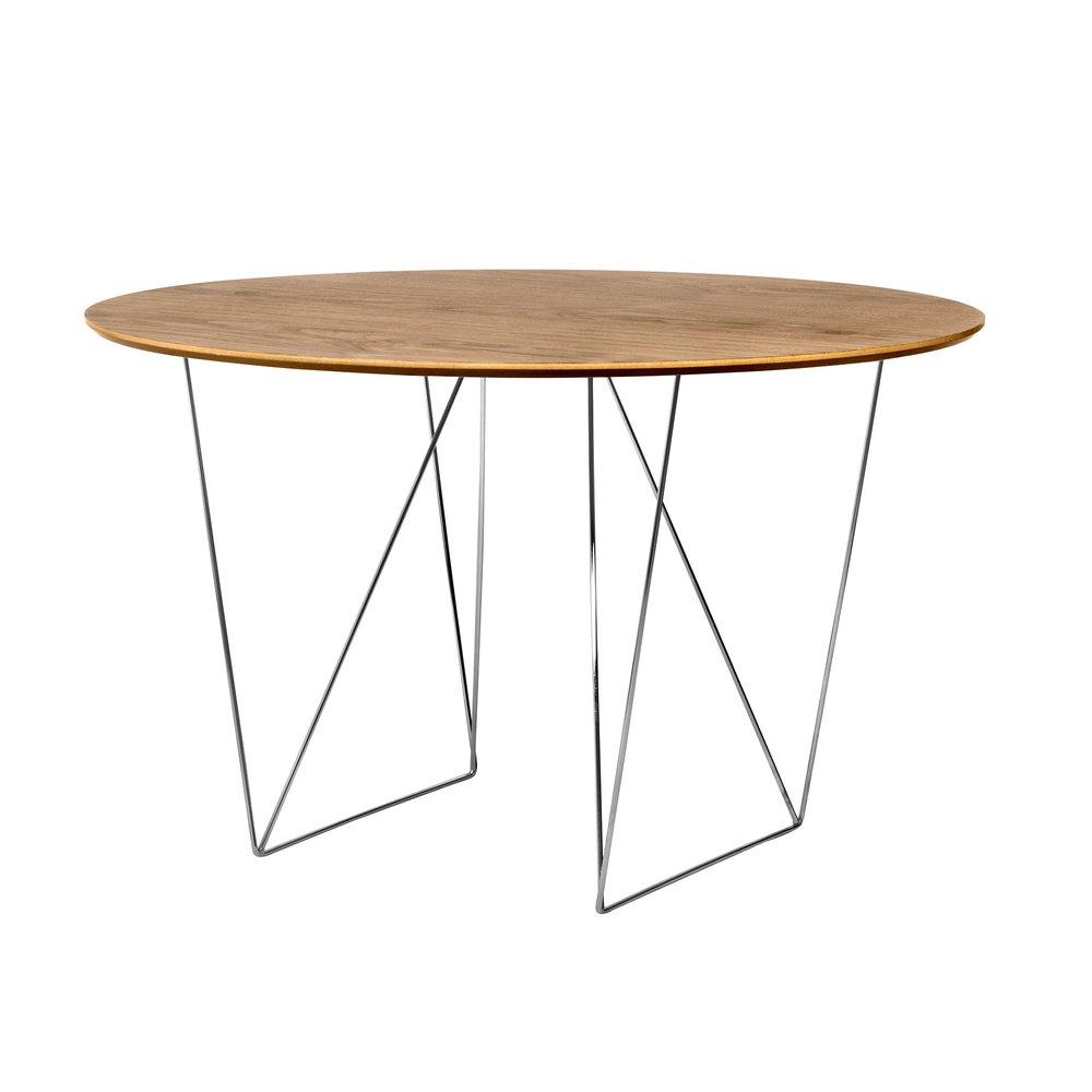 Table - Table à manger ronde 120 cm plateau noyer et piètement chromé - WILNA photo 1