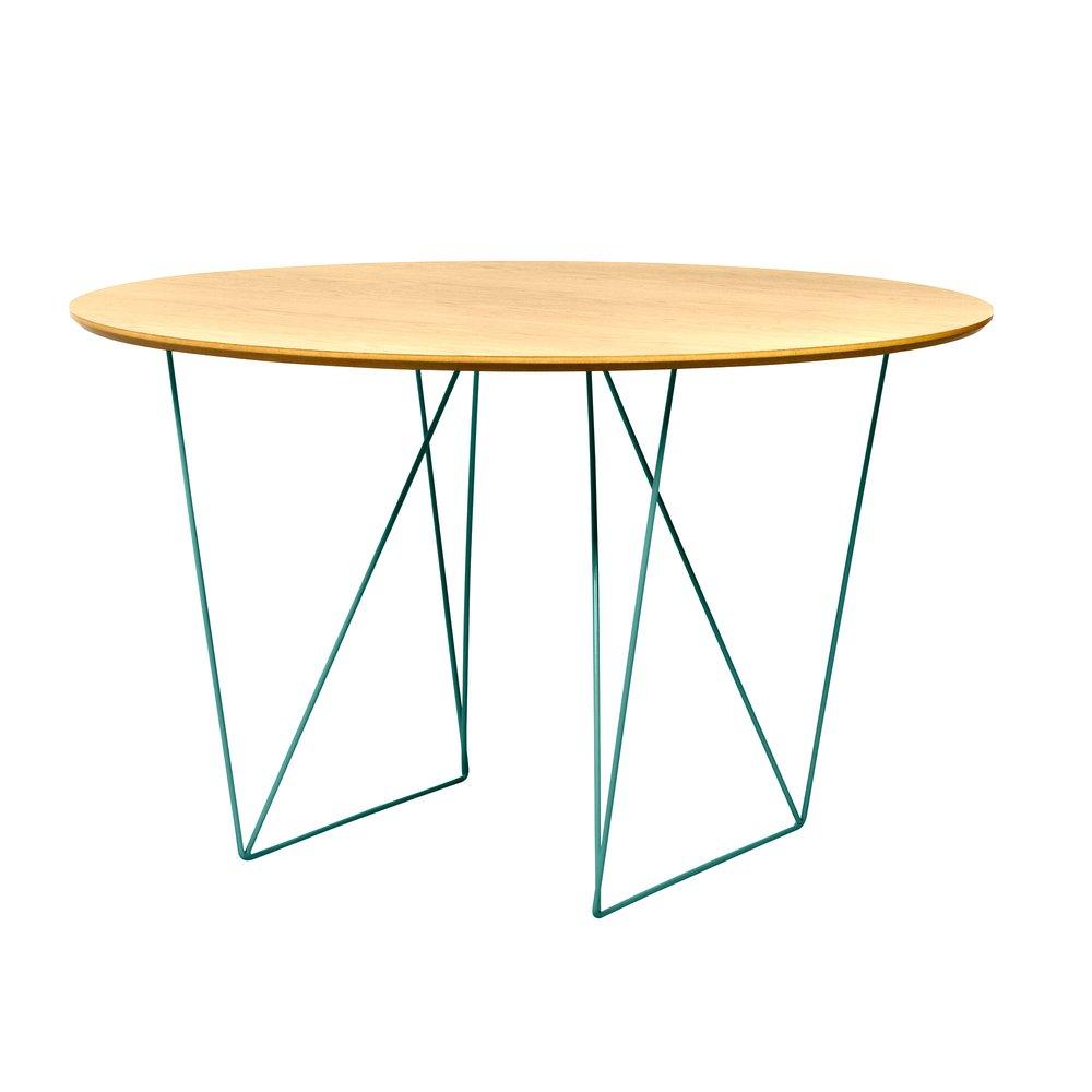 Table - Table à manger ronde 120 cm plateau chêne et piètement vert - WILNA photo 1