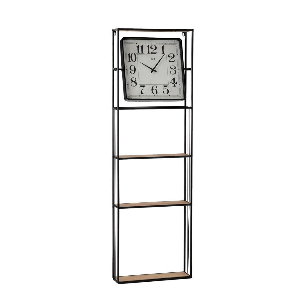 Horloge - Pendule - Etagère avec horloge en métal noir photo 1