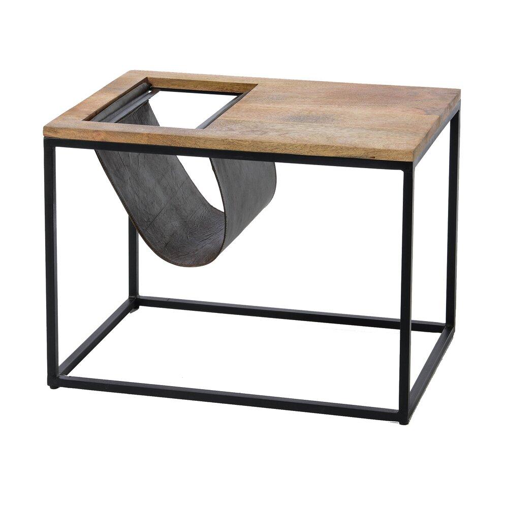Bout de canapé - Bout de canapé porte-revues 60x40x45 cm en bois et métal photo 1