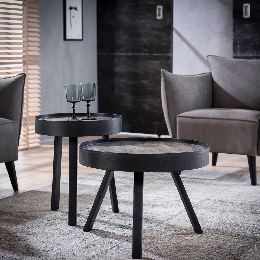 Table basse - Lot de 2 tables basses rondes 60 et 45 cm en teck grisé et métal photo 1