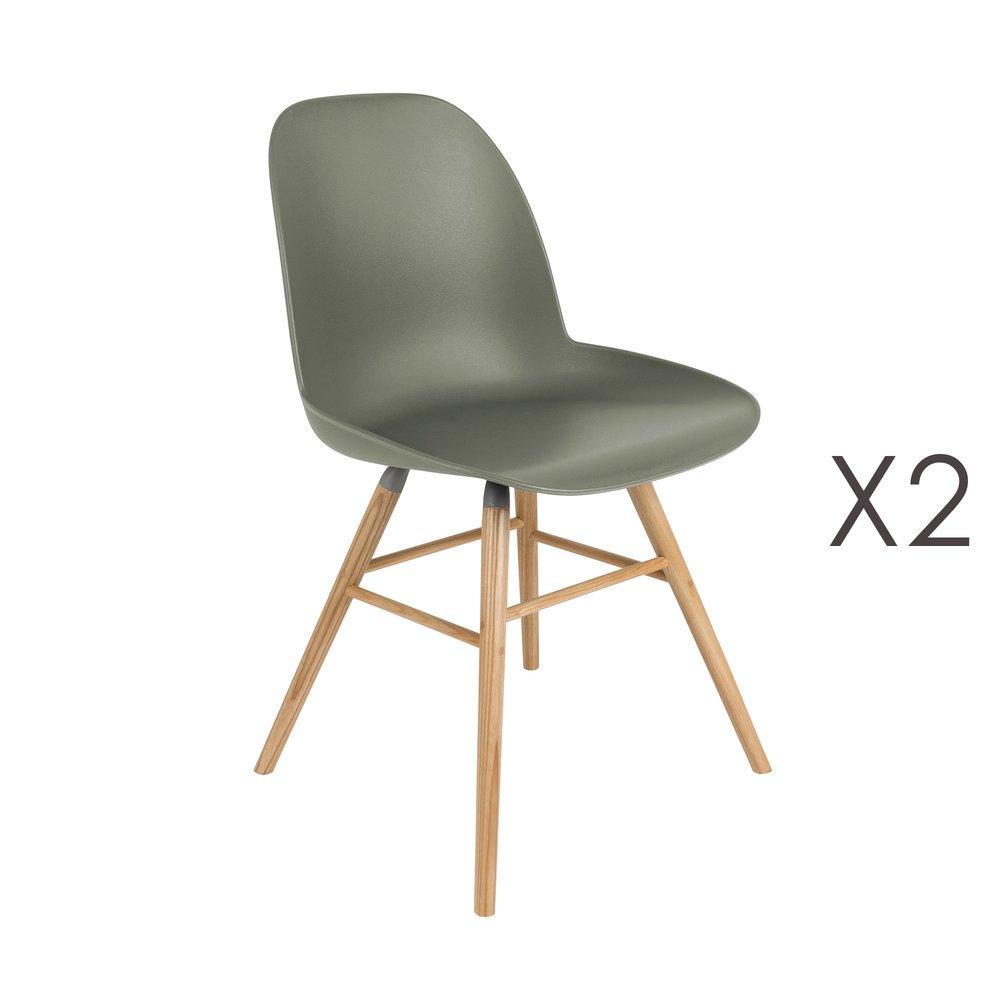 Chaise - Lot de 2 chaises repas vertes foncées et pieds naturels - KUIP photo 1