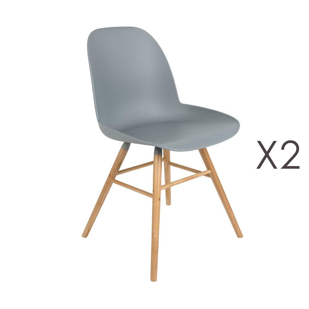 Chaise - Lot de 2 chaises repas grises et pieds naturels - KUIP photo 1