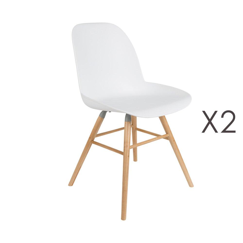Chaise - Lot de 2 chaises repas blanches et pieds naturels - KUIP photo 1
