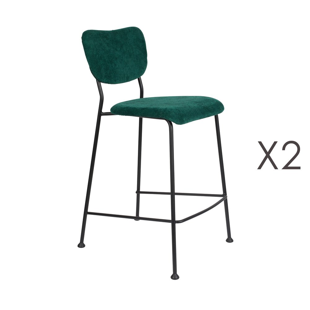 Tabouret de bar - Lot de 2 tabourets de bar H65 cm en tissu vert foncé - BENSON photo 1