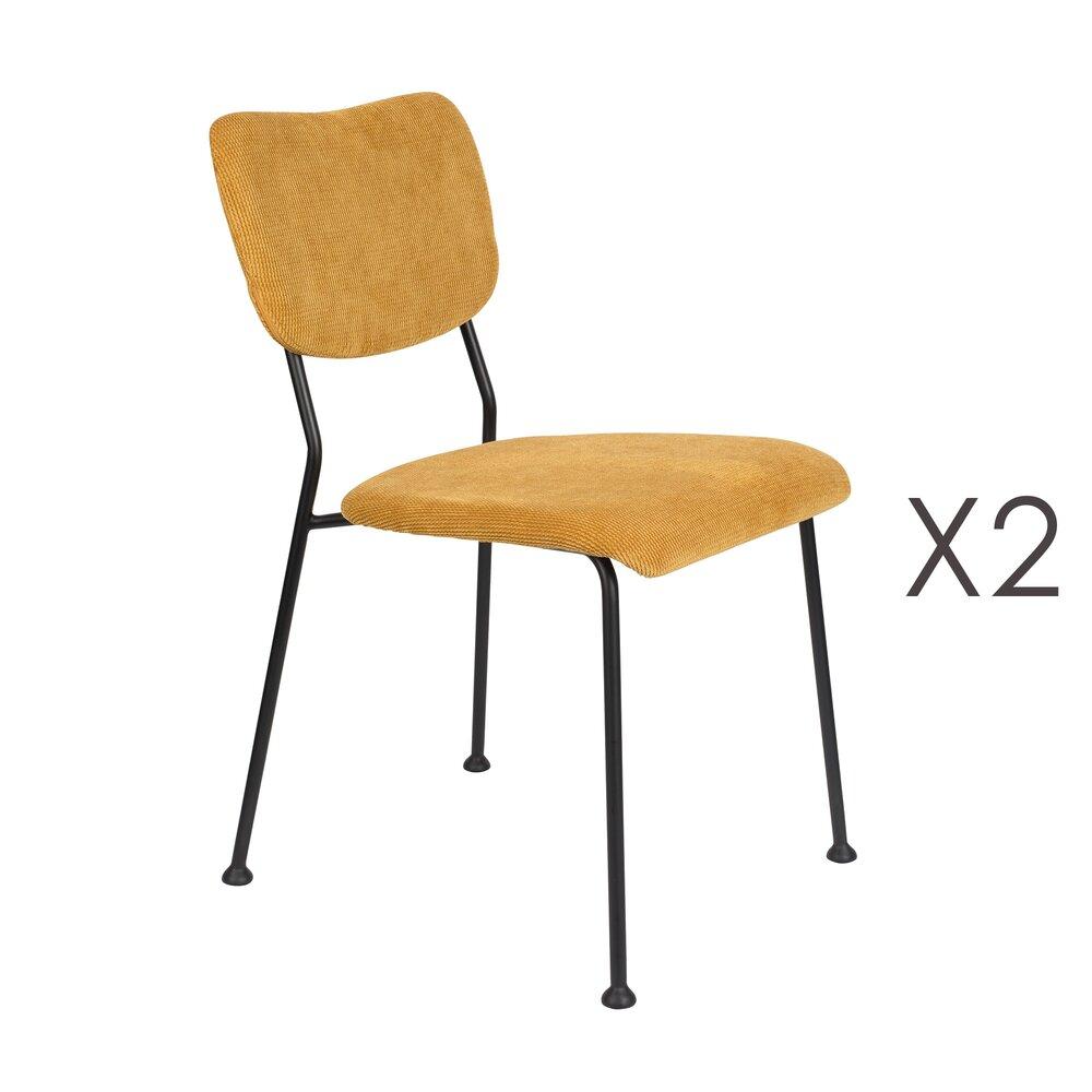 Chaise - Lot de 2 chaises repas en tissu ocre - BENSON photo 1