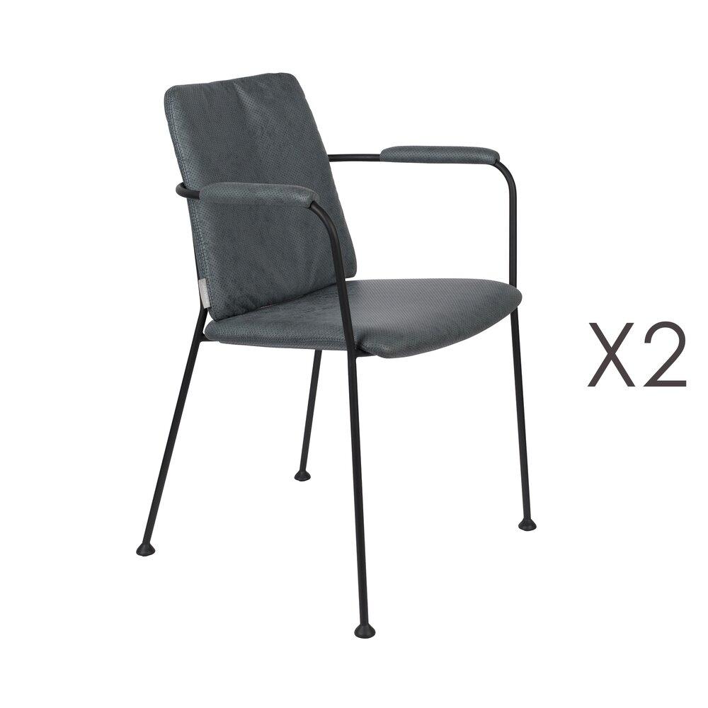 Chaise - Lot de 2 fauteuils repas en tissu bleu - FAB photo 1