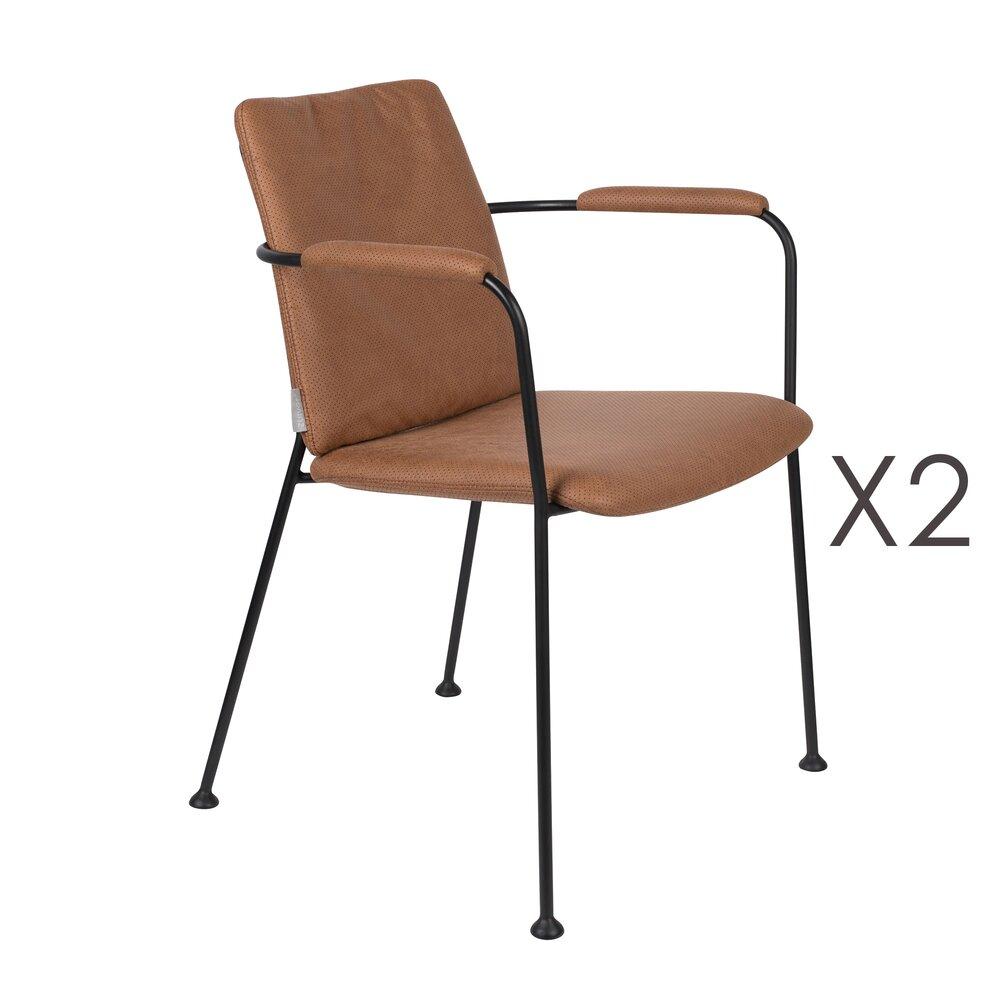 Chaise - Lot de 2 fauteuils repas en tissu marron - FAB photo 1