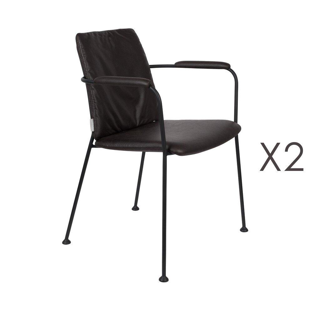 Chaise - Lot de 2 fauteuils repas en tissu noir - FAB photo 1