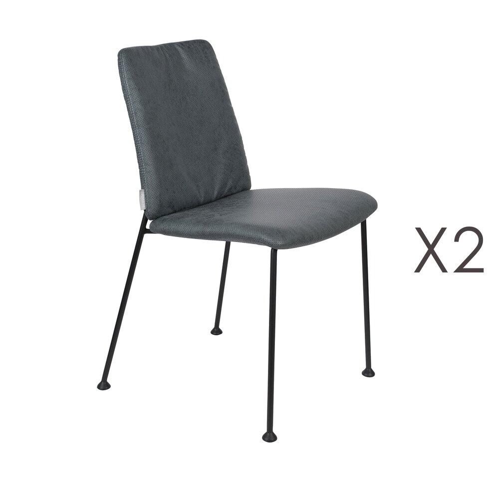 Chaise - Lot de 2 chaises repas en tissu bleu - FAB photo 1