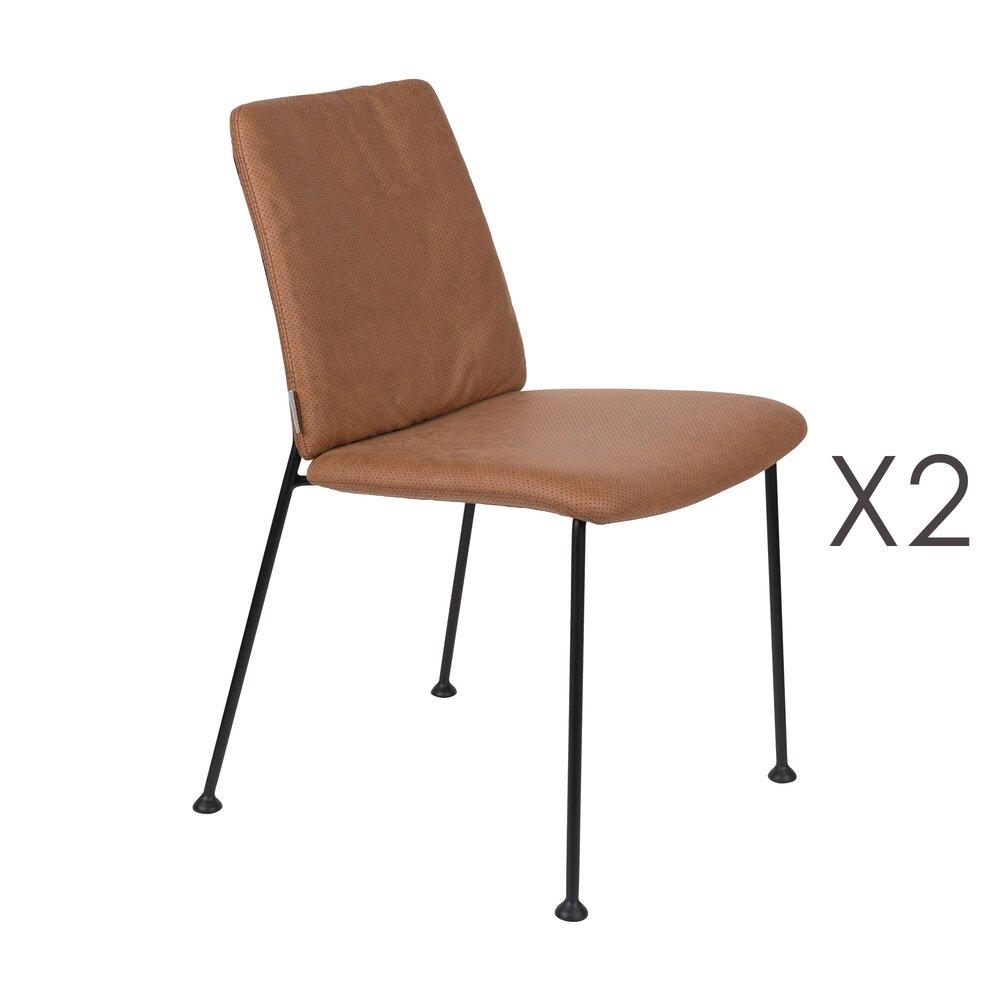 Chaise - Lot de 2 chaises repas en tissu marron - FAB photo 1