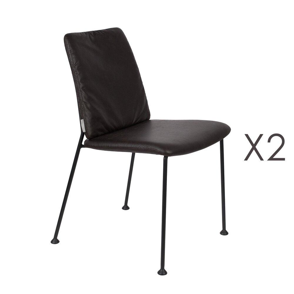 Chaise - Lot de 2 chaises repas en tissu noir - FAB photo 1