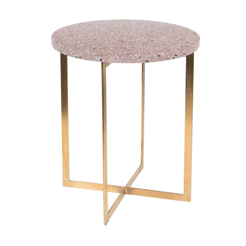 Table basse - Table d'appoint ronde 40 cm en granit rouge et fer photo 1