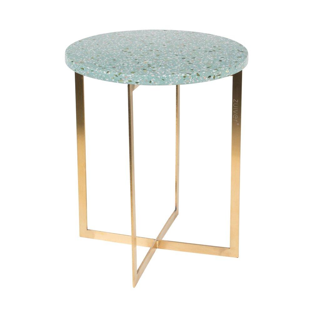 Table basse - Table d'appoint ronde 40 cm en granit vert et fer photo 1