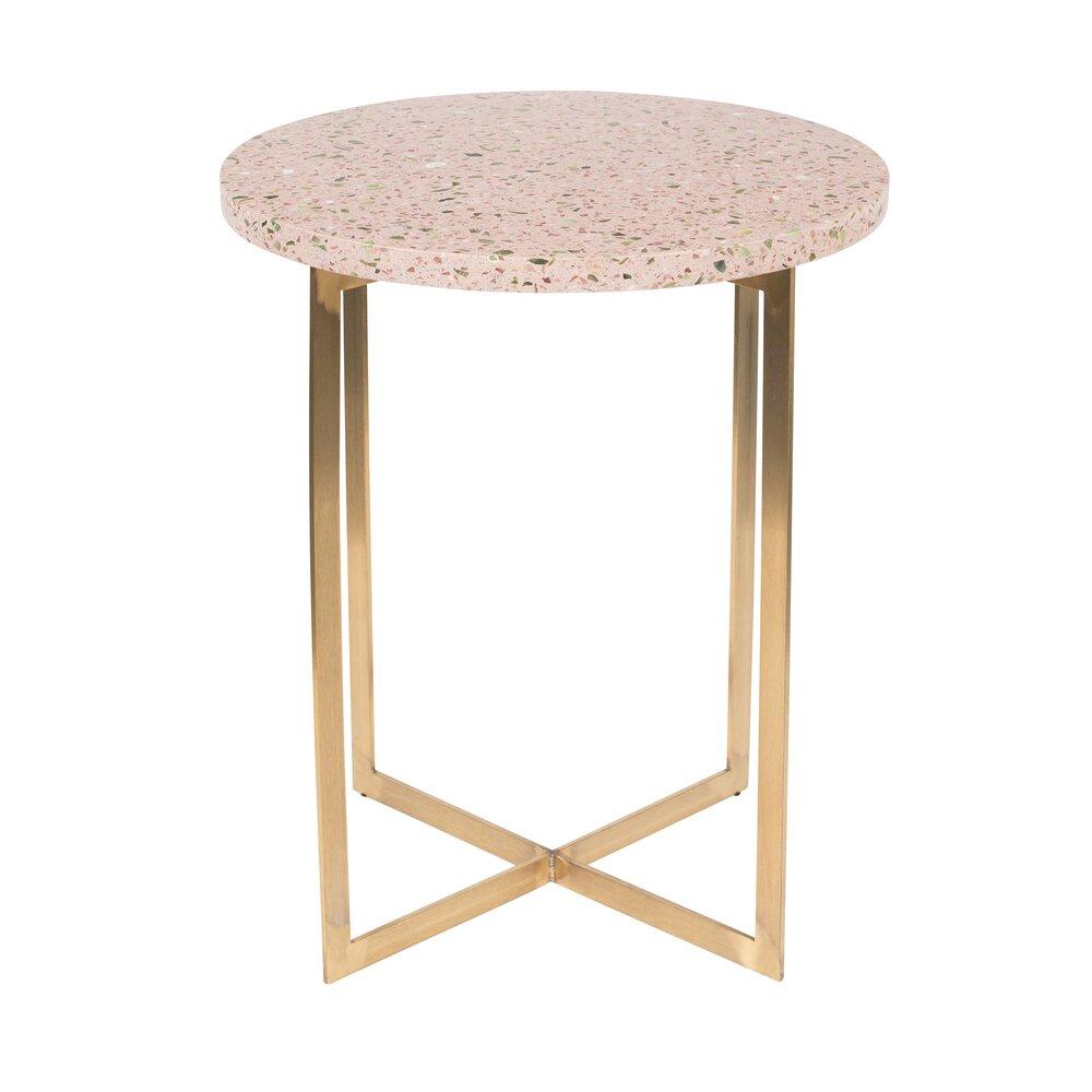 Table basse - Table d'appoint ronde 40 cm en granit rose et fer photo 1