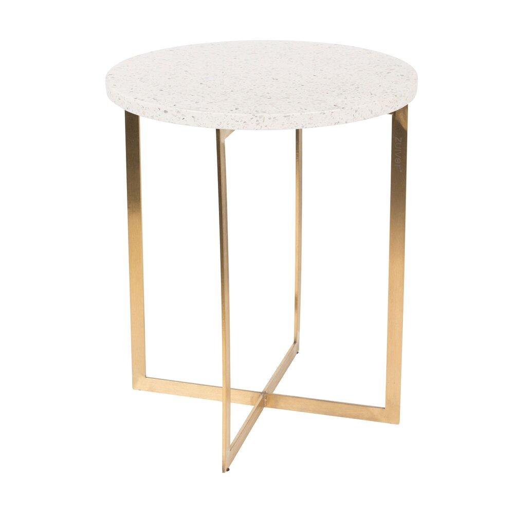 Table basse - Table d'appoint ronde 40 cm en granit blanc et fer photo 1