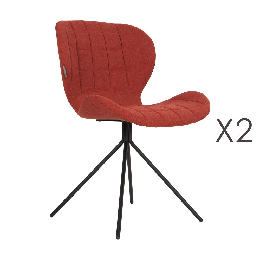 Chaise - Lot de 2 chaises vintage en tissu orange - OMG photo 1