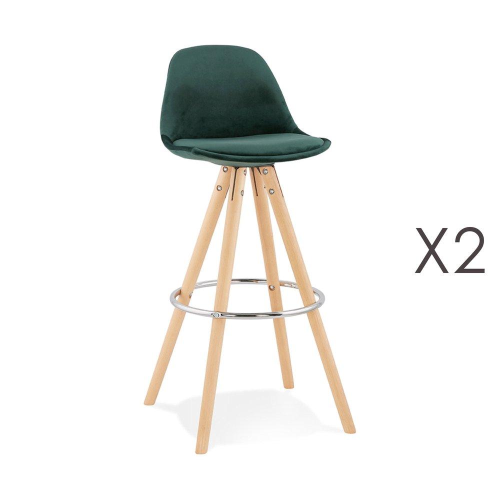 Tabouret de bar - Lot de 2 chaises de bar H75 cm en tissu vert foncé - CIRCOS photo 1