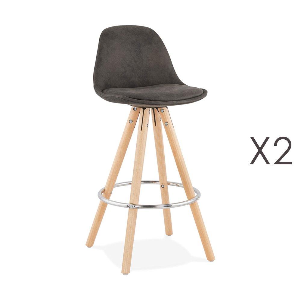 Tabouret de bar - Lot de 2 chaises de bar H65 cm en tissu gris foncé - CIRCOS photo 1