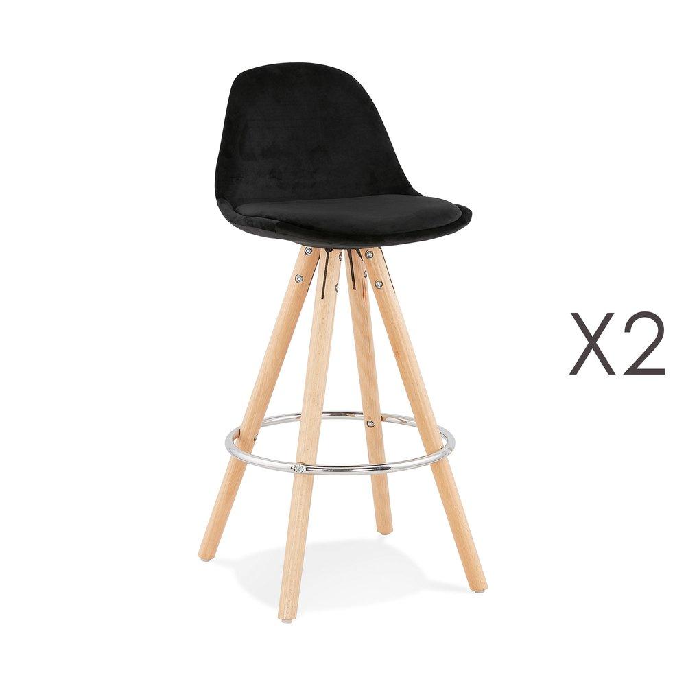 Tabouret de bar - Lot de 2 chaises de bar H65 cm en tissu noir - CIRCOS photo 1