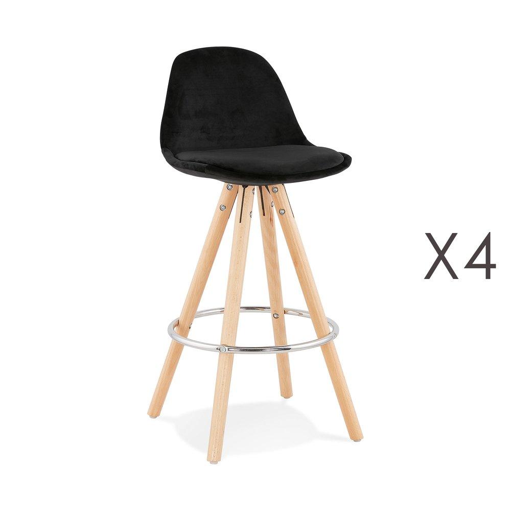 Tabouret de bar - Lot de 4 chaises de bar H65 cm en tissu noir - CIRCOS photo 1