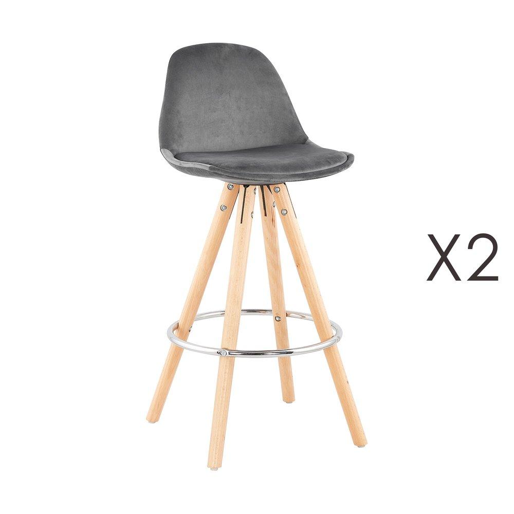 Tabouret de bar - Lot de 2 chaises de bar H65 cm en tissu gris - CIRCOS photo 1
